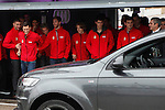 Real Madrid players Karim Benzema, Mesut Ozil, Fabio Coentrao, Sergio Ramos, Luka Modric, Nacho Fernandez and Iker Casillas participate and receive new Audi during the presentation of Real Madrid's new cars made by Audi at the Jarama racetrack on November 8, 2012 in Madrid, Spain.(ALTERPHOTOS/Harry S. Stamper)