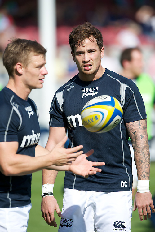 Danny Cipriani of Sale Sharks warms up before the Aviva Premiership match between Harlequins and Sale Sharks at The Twickenham Stoop on Saturday 15th September 2012 (Photo by Rob Munro)