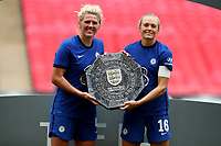 29th August 2020; Wembley Stadium, London, England; Community Shield Womens Final, Chelsea versus Manchester City; Millie Bright and Magdalena Eriksson of Chelsea Women celebrate with the Community Shield after their win