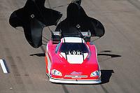 Feb. 18, 2012; Chandler, AZ, USA; NHRA funny car driver Gary Densham during qualifying for the Arizona Nationals at Firebird International Raceway. Mandatory Credit: Mark J. Rebilas-