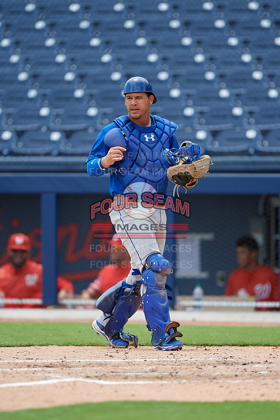 GCL Mets catcher Natanael Ramos (40) during the second game of a doubleheader against the GCL Nationals on July 22, 2017 at The Ballpark of the Palm Beaches in Palm Beach, Florida.  GCL Mets defeated the GCL Nationals 4-1.  (Mike Janes/Four Seam Images)