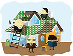 Businessmen protecting house with insurance cover