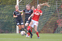 defender Noa Delhaye (12 Zulte-Waregem) and forward Lisa Petry (21 Standard) pictured during a female soccer game between Standard Femina de Liege and Dames SV Zulte Waregem on the fifth matchday of the 2020 - 2021 season of Belgian Scooore Womens Super League , saturday 17 th of October 2020  in Angleur , Belgium . PHOTO SPORTPIX.BE | SPP | STIJN AUDOOREN