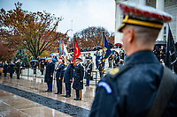 (From left to right) President Donald J. Trump; Vice President Michael R. Pence; Secretary of Veterans Affairs Robert Wilkie; and U.S. Army Maj. Gen. Omar Jones IV, commanding general, U.S. Army Military District of Washington render honors during a Presidential Armed Forces Full Honor Wreath-Laying Ceremony at the Tomb of the Unknown Soldier; Arlington National Cemetery; Arlington; Virginia; November 11; 2020. The wreath was laid by President Trump as part of the nation's 67th Veterans Day Observance. (U.S. Army photo by Elizabeth Fraser / Arlington National Cemetery / released)