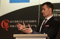 Montreal, CANADA, February 16, 2015, Lino A. Saputo Jr, President and Chief Executive Officer, SAPUTO Inc.  speak at the Canadian Club of Montreal tribune.<br /> <br /> Photo : Agence Quebec Presse - Pierre Roussel