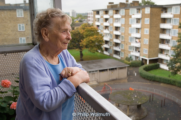 Florence Burgess (89), tenant on St.Pancras Way Estate, Camden, and member of the estate's Environment Committee.