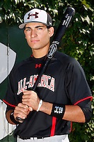 Third Baseman Nick Basto #12 poses for a photo before the Under Armour All-American Game at Wrigley Field on August 13, 2011 in Chicago, Illinois.  (Mike Janes/Four Seam Images)