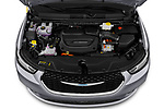 Car Stock 2021 Chrysler Pacifica-Hybrid LIMITED 5 Door Minivan Engine  high angle detail view