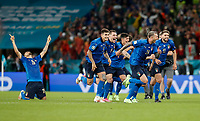 Sport Bilder des Tages 210707 -- LONDON, July 7, 2021 -- Players of Italy celebrate after winning the semifinal between Italy and Spain at the UEFA EURO, EM, Europameisterschaft,Fussball 2020 in London, Britain, on July 6, 2021.  SPBRITAIN-LONDON-FOOTBALL-UEFA EURO 2020-SEMIFINALS-ITALY VS SPAIN HanxYan PUBLICATIONxNOTxINxCHN<br /> Photo Imago/Insidefoto ITA ONLY