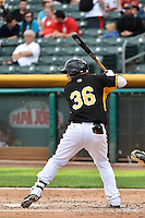 Anderson De La Rosa (36) of the Salt Lake Bees at bat against the Albuquerque Isotopes at Smith's Ballpark on May 21, 2014 in Salt Lake City, Utah.  (Stephen Smith/Four Seam Images)