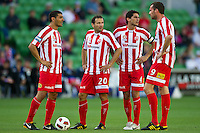 MELBOURNE, AUSTRALIA - January 2:  Heart players prepare for a free kick during the round 21 A-League match between Melbourne Heart and North Queensland Fury at AAMI Park on January 2, 2011 in Melbourne, Australia. (Photo by Sydney Low / Asterisk Images)