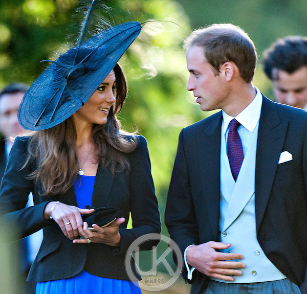 Prince William and Kate Middleton attend the wedding of their friends Harry Meade and Rosie Bradford in the village of Northleach, Gloucestershire.