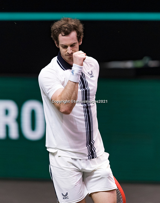 Rotterdam, The Netherlands, 28 Februari 2021, ABNAMRO World Tennis Tournament, Ahoy, First round match: Andy Murray (GBR) wins.<br /> Photo: www.tennisimages.com