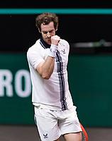 Rotterdam, The Netherlands, 28 Februari 2021, ABNAMRO World Tennis Tournament, Ahoy, First round match: Andy Murray (GBR) wins.<br /> Photo: www.tennisimages.com