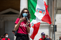 """Libera & Rete dei Numeri Pari. <br /> <br /> Rome, Italy. 29th May, 2021. Italian Antifascist organizations, Antifascist political parties, Trade Unions, Palestinian Community of Rome (Comunità Palestinese di Roma), WWII Partizans, citizens, led by ANPI (National Association of Italian Partizans, Members of the WWII Italian Resistance, 1.), held an emergency rally against a fascist demo held in a Central-Rome-nearby-square which was authorized by State Institutions with no regard for the Italian Antifascist Constitution and all the Victims of nazi and fascist regimes, including all the Victims of nazi and fascist concentration camps. From the ANPI press release: «The Anti-fascist associations of the Italian Resistance and the Liberation Struggle, with political, trade union and organizations, express indignation at the national demo promoted in Rome in Piazza SS Apostoli on May 29, 2021 by Casapound, launched using shamelessly nazi slogans such as that of """"blood and soil"""", referring to the same words of Hitler, Himmler and Goebbels to build the ideal foundation of the Shoah. The carrying out of the national demo of a declared fascist organization constitutes a very serious outrage to the founding values of the [Italian] Democratic Republic and to the principles enshrined in the Constitution born of anti-fascism, the Resistance and the Liberation Struggle, as well as a clear violation of the laws prohibiting propaganda and the reconstitution of the fascist party. We recall the memory of the victims and fallen in the fight against fascism that has bloodied this country and this city, Gold Medal for Military Valor (2.) for the facts of the Resistance awarded in July 2018 by the President of the Republic, in addition to that of the long trail of black [fascist] massacres that happened in the life of the [Italian] Republic, from Piazza Fontana, to Italicus [train], to Brescia, to Bologna station […]».<br /> <br /> 1. http://www.anpi.it<br /> 2. http://bit.do/fQV4s"""