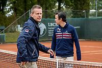 Netherlands, September 27,  2020, Beneden-Leeuwen, TV Lewabo, Competition Men's, Men's premier league, Umpires prepairing the courts<br /> Photo: Henk Koster/tennisimages.com