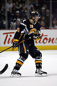 February 17th 2007:  Thomas Vanek (26) of the Buffalo Sabres looks for the puck vs. the Boston Bruins at HSBC Arena in Buffalo, NY.  The Bruins defeated the Sabres 4-3 in a shootout.