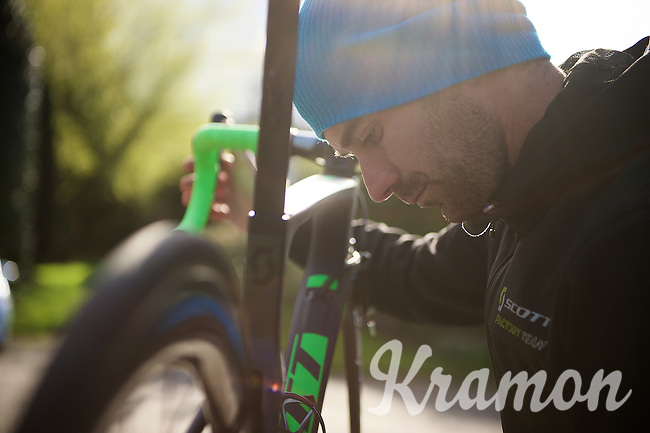 prepping the bikes the day before the race<br /> <br /> 102nd Liège-Bastogne-Liège 2016