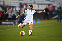JACKSONVILLE, FL - NOVEMBER 10: Tobin Heath #17 of the United States sends a ball downfield during a game between Costa Rica and USWNT at TIAA Bank Field on November 10, 2019 in Jacksonville, Florida.