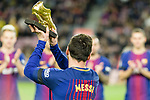 Lionel Messi of FC Barcelona Awarded 4th European Golden Shoe during the La Liga 2017-18 match between FC Barcelona and Deportivo La Coruna at Camp Nou Stadium on 17 December 2017 in Barcelona, Spain. Photo by Vicens Gimenez / Power Sport Images