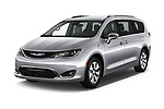 2019 Chrysler Pacific Hybrid Limited 5 Door Mini Van angular front stock photos of front three quarter view