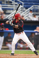 Batavia Muckdogs third baseman Taylor Munden (5) at bat during a game against the Mahoning Valley Scrappers on June 22, 2015 at Dwyer Stadium in Batavia, New York.  Mahoning Valley defeated Batavia 15-11.  (Mike Janes/Four Seam Images)