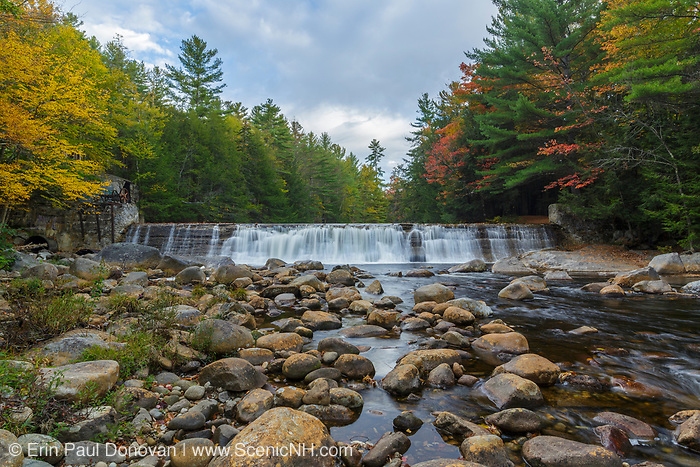 Parker's Dam along the Pemigewasset River in North Woodstock, New Hampshire on a  cloudy autumn day. This is the site of an old mill dating back to the logging era.