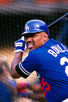 Bobby Bonilla of the Los Angeles Dodgers  participates in a Major League Baseball game at Dodger Stadium during the 1998 season in Los Angeles, California. (Larry Goren/Four Seam Images)