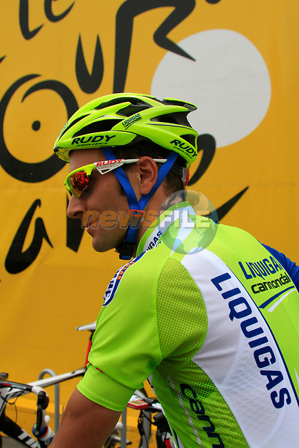 Ivan Basso (ITA) Liquigas-Cannondale at sign on before the start of Stage 2 of the 99th edition of the Tour de France 2012, running 207.5km from Vise to Tournai, Belgium. 2nd July 2012.<br /> (Photo by Eoin Clarke/NEWSFILE)