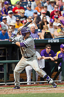 TCU Horned Frogs shortstop Keaton Jones (26) at bat against the LSU Tigers in the NCAA College World Series on June 14, 2015 at TD Ameritrade Park in Omaha, Nebraska. TCU defeated LSU 10-3. (Andrew Woolley/Four Seam Images)