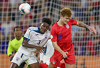 WASHINGTON, D.C. - OCTOBER 11: Josh Sargent #19 of the United States heads a ball during their Nations League game versus Cuba at Audi Field, on October 11, 2019 in Washington D.C.