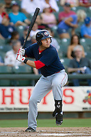 Oklahoma City RedHawks third baseman Brandon Laird (4) at bat against the Round Rock Express during the Pacific Coast League baseball game on August 25, 2013 at the Dell Diamond in Round Rock, Texas. Round Rock defeated Oklahoma City 9-2. (Andrew Woolley/Four Seam Images)