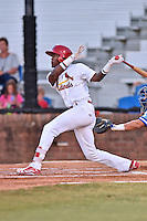 Johnson City Cardinals left fielder DeAndre Asbury-Heath (5) swings at a pitch during Game Two of the Appalachian League Championship series against the Burlington Royals at TVA Credit Union Ballpark on September 7, 2016 in Johnson City, Tennessee. The Cardinals defeated the Royals 11-6 to win the series 2-0.. (Tony Farlow/Four Seam Images)