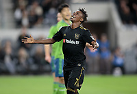 LOS ANGELES, CA - OCTOBER 29: Latif Blessing #7 of the Los Angeles FC grimace's after narrowly missing a goal during a game between Seattle Sounders FC and Los Angeles FC at Banc of California Stadium on October 29, 2019 in Los Angeles, California.