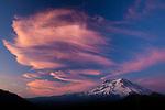 Mt. Rainier with a stunning cloud formation at sunset, Washington, USA