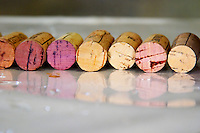Domaine de la Rectorie. Roussillon. Handful of corks on a table. France. Europe.