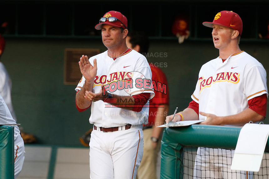 USC Trojans Head Coach Dan Hubbs during a game against the Stanford Cardinal at Dedeaux Field on April 5, 2013 in Los Angeles, California. (Larry Goren/Four Seam Images)
