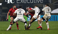 11 December 2020; Marcell Coetzee is tackled by Sofiane Guitoune during the Heineken Champions Cup Pool B Round 1 match between Ulster and Toulouse at Kingspan Stadium in Belfast. Photo by John Dickson/Dicksondigital