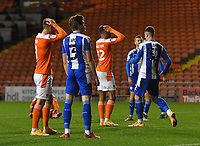 Blackpool players react as CJ Hamilton fires over the bar from close range<br /> <br /> Photographer Dave Howarth/CameraSport<br /> <br /> The EFL Sky Bet League One - Blackpool v Wigan Athletic - Tuesday 3rd November 2020 - Bloomfield Road - Blackpool<br /> <br /> World Copyright © 2020 CameraSport. All rights reserved. 43 Linden Ave. Countesthorpe. Leicester. England. LE8 5PG - Tel: +44 (0) 116 277 4147 - admin@camerasport.com - www.camerasport.com