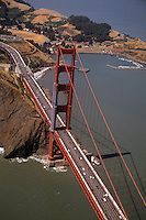 Famous Landmark of San Francisco the Golden Gate Bridge aerial from above from helicopte