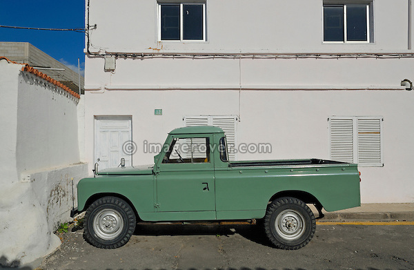 Spanish-built 1960's Santana Land Rover Series 2a LWB truck-cab. Spain, Canary Islands, Teneriffe, 2007. --- No releases available. Automotive trademarks are the property of the trademark holder, authorization may be needed for some uses. --- Info: From the mid 1950's untill the early 1990's the english Land Rover was also built under license in Spain. The spanish company Metalurgica de Santa Ana (later to become Santana Motor SA), was producing Land Rovers in the beginning from CKD kits, but local content was gradually increased until the Santanas (this is how they were called) were 100 per cent locally manufactured.