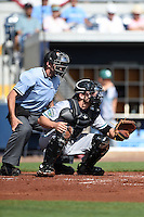 Home plate umpire Alex Mackay and Daytona Tortugas catcher Joe Hudson (8) during a game against the Charlotte Stone Crabs on April 14, 2015 at Charlotte Sports Park in Port Charlotte, Florida.  Charlotte defeated Daytona 2-0.  (Mike Janes/Four Seam Images)