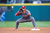 Lehigh Valley IronPigs second baseman Jesmuel Valentin (7) waits for a throw during a game against the Buffalo Bisons on August 29, 2016 at Coca-Cola Field in Buffalo, New York.  Buffalo defeated Lehigh Valley 3-2.  (Mike Janes/Four Seam Images)