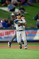Scranton/Wilkes-Barre RailRiders third baseman Donovan Solano (17) throws to first base for the out during the second game of a doubleheader against the Rochester Red Wings on August 23, 2017 at Frontier Field in Rochester, New York.  Rochester defeated Scranton 1-0.  (Mike Janes/Four Seam Images)