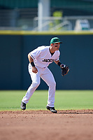 Augusta GreenJackets shortstop Shane Matheny (15) during a South Atlantic League game against the Lexington Legends on April 30, 2019 at SRP Park in Augusta, Georgia.  Augusta defeated Lexington 5-1.  (Mike Janes/Four Seam Images)