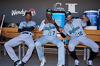 Salt River Rafters Jose Devers (2), Geraldo Perdomo (7), and Victor Victor Mesa (10) before the Arizona Fall League Championship Game against the Surprise Saguaros on October 26, 2019 at Salt River Fields at Talking Stick in Scottsdale, Arizona. The Rafters defeated the Saguaros 5-1. (Zachary Lucy/Four Seam Images)