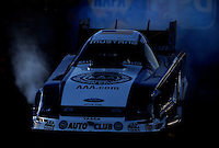 Jan 25, 2009; Chandler, AZ, USA; NHRA funny car driver Robert Hight does a burnout during testing at the National Time Trials at Firebird International Raceway. Mandatory Credit: Mark J. Rebilas-