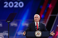 National Harbor, MD - February 27, 2020: U.S. Vice President Mike Pence speaks during CPAC 2020 hosted by the American Conservative Union at the Gaylord National Resort at National Harbor, MD February 27, 2020.  (Photo by Don Baxter/Media Images International)