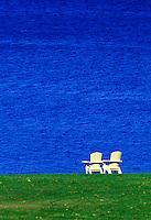Adirondack chairs overlooking sea, Bar Harbor, Maine