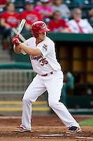 Kyle Conley (35) of the Springfield Cardinals at bat during a game against the Arkansas Travelers at Hammons Field on June 12, 2012 in Springfield, Missouri. (David Welker/Four Seam Images)